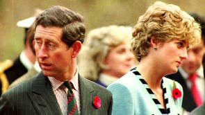 Prince Charles and Diana at the memorial to the British Gloster Regiment outside Seoul. The Royal couple were on a four-day official visit to Korea